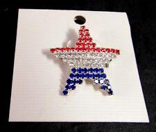 USA American Pin/Brooch Star Red White Blue Rhinestones 1 inch