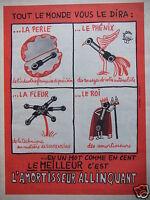 PUBLICITÉ 1958 L'AMORTISSEUR ALLINQUANT - DESSIN JEAN EFFEL - ADVERTISING