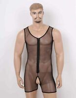 Sexy Mens Fishnet Mesh Crotchless Thong Leotard Bodysuit Jumpsuit Underwear Tank