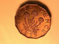 1937 GREAT BRITAIN 3 Pence Ch BU Original Old Toned Threepence UK 12 Sided Coin