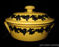 ANTIQUE 19TH C.YELLOW WARE COVERED BOWL TUREEN BLACK SPRIGGED YELLOWARE