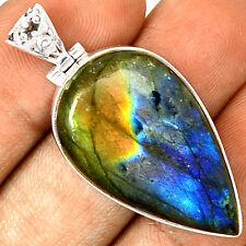Spectrolite Labradorite From Finland 925 Silver Pendant  Jewelry PP26309