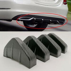 4 Fins Car Rear Bumper Diffuser Scratch Protector Molding Trim Carbon Fiber Type
