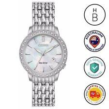 New Citizen Eco-Drive Ladies Watch Silver Tone MOP Dial Diamond Bezel EW2280-58D