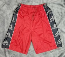 ADIDAS Basketball Street Shorts Spell Out Logos 3 Stripe Sz Large Red Black