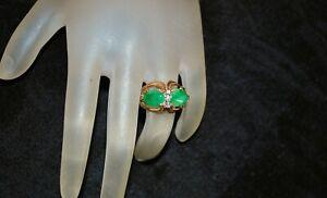 14K Apple Green Jade and Diamond  Ring