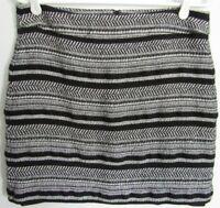 Ann Taylor Loft Black White Skirt Petite Sz 10 10P Above Knee Pencil Lined Mini