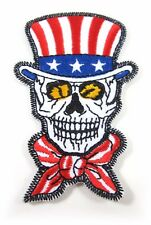 1Pcs USA AMERICAN SKULL EMBROIDERED IRON ON SEW ON PATCH SEW  FABRIC CRAFT