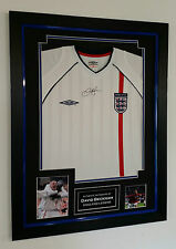 *** Rare DAVID BECKHAM of England Signed Shirt Display *** AFTAL DEALER CERT