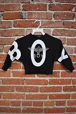 BOY LONDON KIDS PRINTED SWEATSHIRT SIZE 2 BLACK/BLUE USA MADE RARE NEW DESIGN *