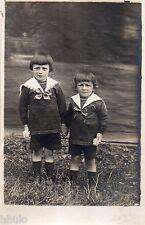 BJ369 Carte Photo vintage card RPPC Enfant mode fashion habit identique frere