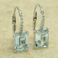 14k White Gold Over 1 CT Emerald Cut Aquamarine & Diamond Drop Dangle Earrings