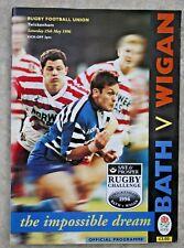 1996 Cross Code Rugby Match Programm Bad V Wigan-Union Seite V Liga Seite