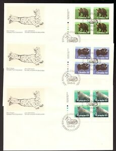 3 Canadian Wildlife  FDC's - 1989 - Walrus, Musk Ox, Grizzly Bear -  superfleas