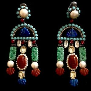 Authentic Lawrence Vrba Multicolored Crystal and Faux Pearl Dangle Earrings