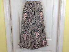 Michael Kors 100% Silk Pink Brown Paisley Flat Front Femine Size 6 A-Line Skirt