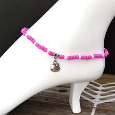 Glass Beads Stretch Ankle Bracelet with Tibetan Silver Hello Kitty