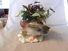 Painted Ceramic Mallard Duck on Rocks With Artificial Flowers Figurine (M)