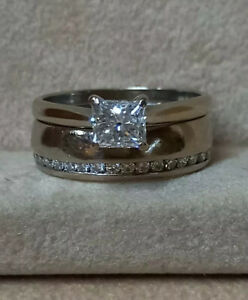 Princess cut Diamond Ring/Diamond Wedding Band (SET) White gold