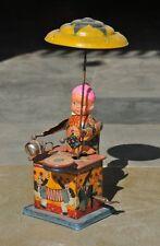 Vintage Vento Up Litho Celluloide Viso Drummer Boy Scatola di Latta Toy, Japan