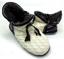 MukLuks Womens Slipper ShoesAnkle Length Beige Fair Isle Cable Knit Size 7 - 8
