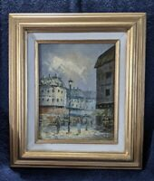 Original Oil painting Artist C. Berth  European, Paris Street scene, framed