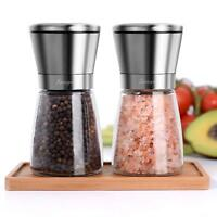 Salt and Pepper Grinder set of Set of 2 Glass Body Bamboo Plate in Gift Box