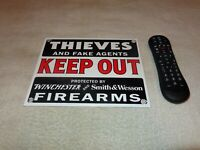 """VINTAGE THIEVES OUT! WINCHESTER SMITH & WESSON 10"""" PORCELAIN METAL GUN AMMO SIGN"""