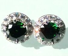 Emerald Earrings: 925 Silver created Emerald Removable Jacket Halo Stud Earrings