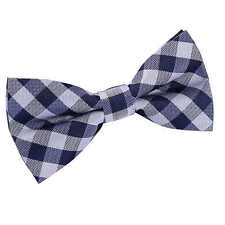DQT Woven Gingham Check Checkered Navy Blue Classic Mens Pre-Tied Bow Tie