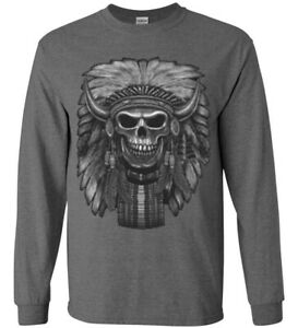 Native American Bison Skull T-shirt Mens Gifts Long Sleeve Tee
