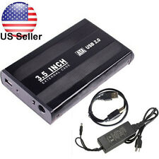 "3.5"" Inch USB 2.0 SATA HDD Hard Drive External Enclosure Case Cover Box Cable"