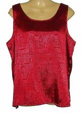 Womens Thai Silk Sleeveless Blouse Red Jacquard Weave / UK 24 / FREE POST