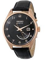Seiko SRN054 Kinetic Black Dial Black Leather Band Mens Watch