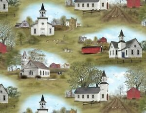 Elizabeth's Studio Amazing Grace by Billy Jacobs 4710 Green Scenic Cotton Fabric