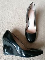 Next Black Patent Wedge Heeled Court Shoes Uk Size 5 Used