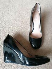 Next Black Patent Wedge Heeled Court Shoes Uk Size 5 Used