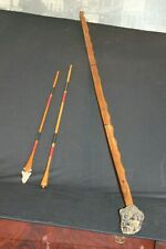Carved And Painted Woodland Bow W/Two Matching Arrows