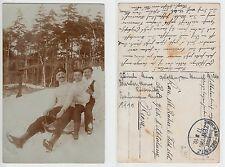 Zwickau, Sports d'hiver, les hommes chez luge voyage, Funny Male Friends 1910 gay int