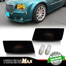 For 2005-10 Chrysler 300 Black Lens White LED Front Side Marker Lights Bulbs Set