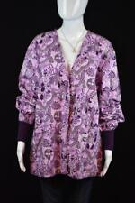 Crest size M Button Down Long Sleeve Scrub Top Lavender and Purple Floral Print