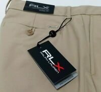 "RLX GOLF MENS 30 33 38 40 RALPH LAUREN SHORTS POLYESTER CLS KHAKI INSEAM 10"" NEW"
