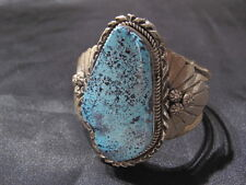 Native American Navajo Large Gold Canyon Turquoise Sterling Silver Bracelet