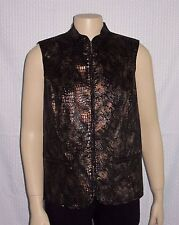 New listing Alia Woman Vest Top Size 12 L Sleeveless Black Copper Reptile Print Zipper Euc