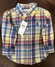 Ralph Lauren Boys Botton Down Plaid Shirt Size 12 Months
