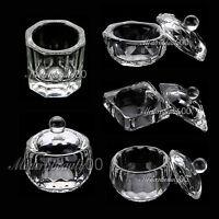 1 X CRYSTAL GLASS DAPPEN DISH + LID BOWL CUP NAIL ART Craft SALON School Tool