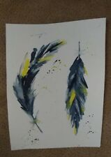 watercolor painting,wall decor,feather,original , unframed 11x15