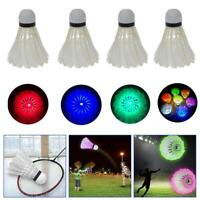 4pc/SET Colorful LED Shuttle Badminton Shuttlecock Feather Ball Glow In Night