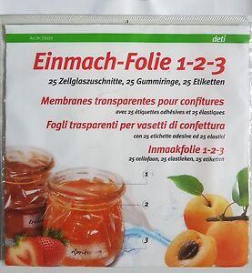 Deti Einmach-Folie 1-2-3 mit 25 Zellglaszuschnitten 25 Gummiringen 25 Etiketten