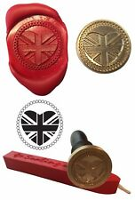 Wax Stamp, UNION JACK HEART UK GB Coin Seal and Red Wax Stick XWSC092-KIT